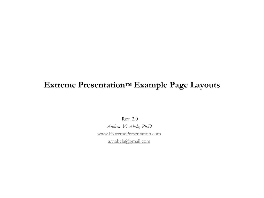 extreme presentation example page layouts l.