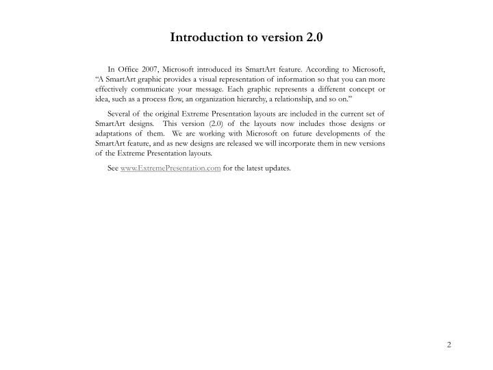 Introduction to version 2 0