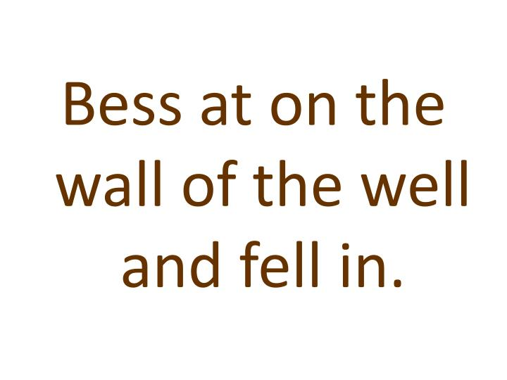 Bess at on the wall of the well and fell in.