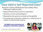 how valid is self reported data