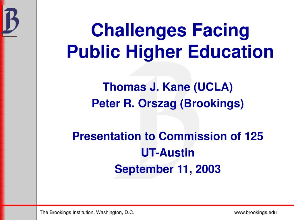 Challenges Facing Public Higher Education