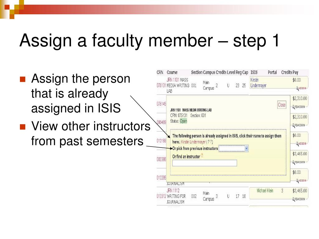 Assign a faculty member – step 1
