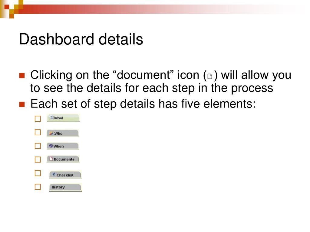 Dashboard details