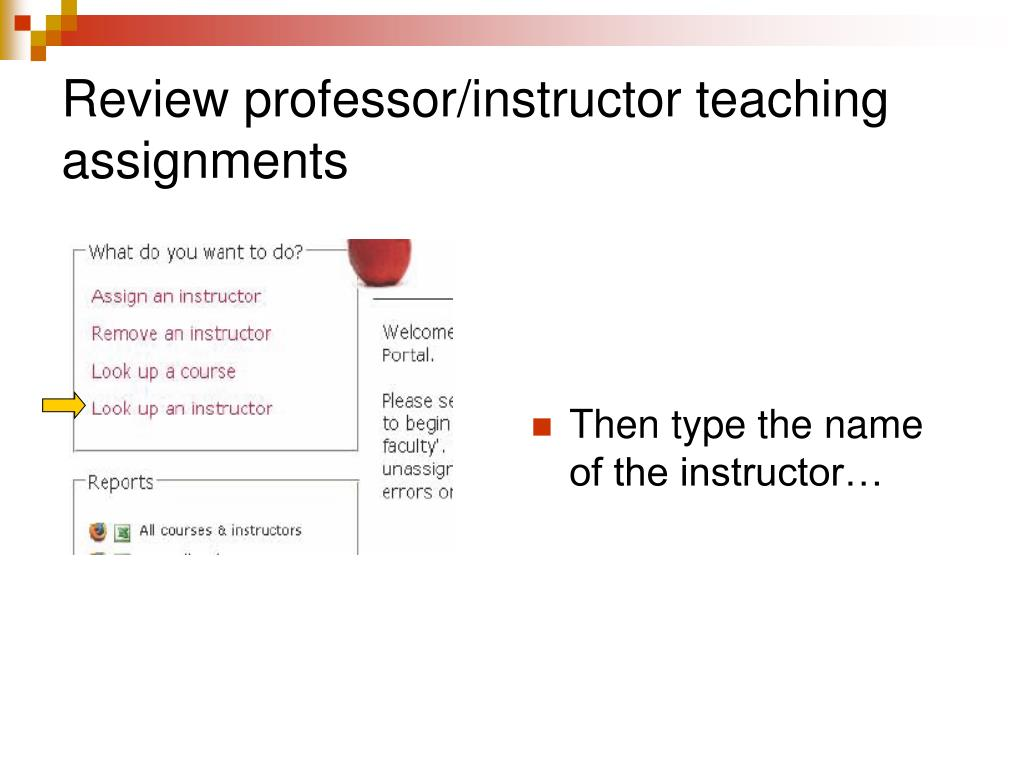 Review professor/instructor teaching assignments