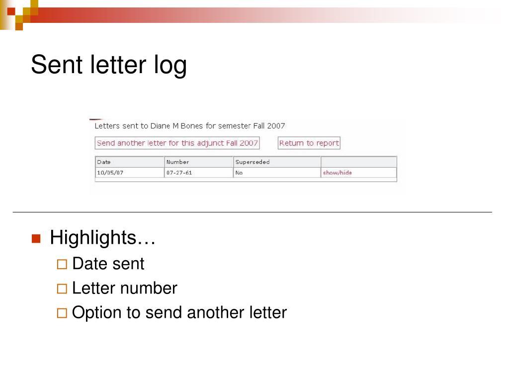 Sent letter log