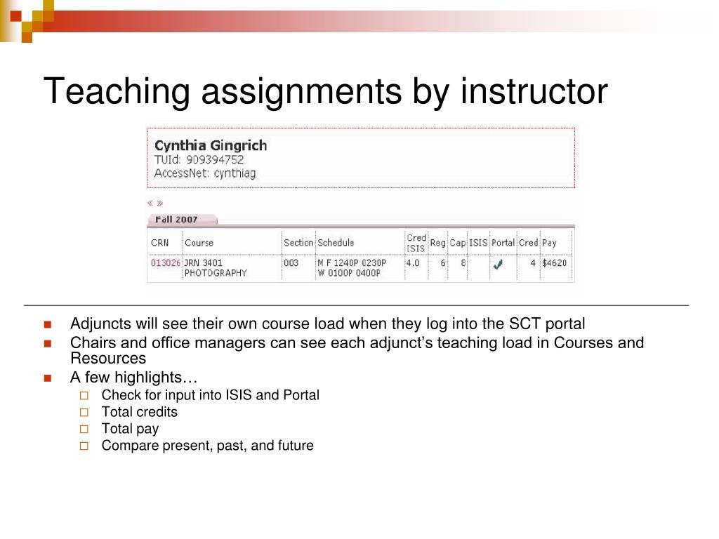 Teaching assignments by instructor
