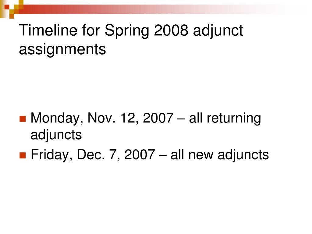 Timeline for Spring 2008 adjunct assignments