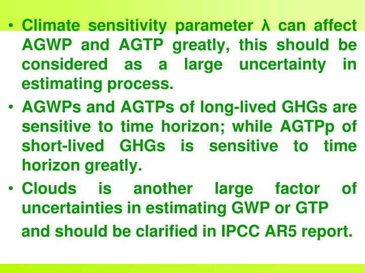 Climate sensitivity parameter