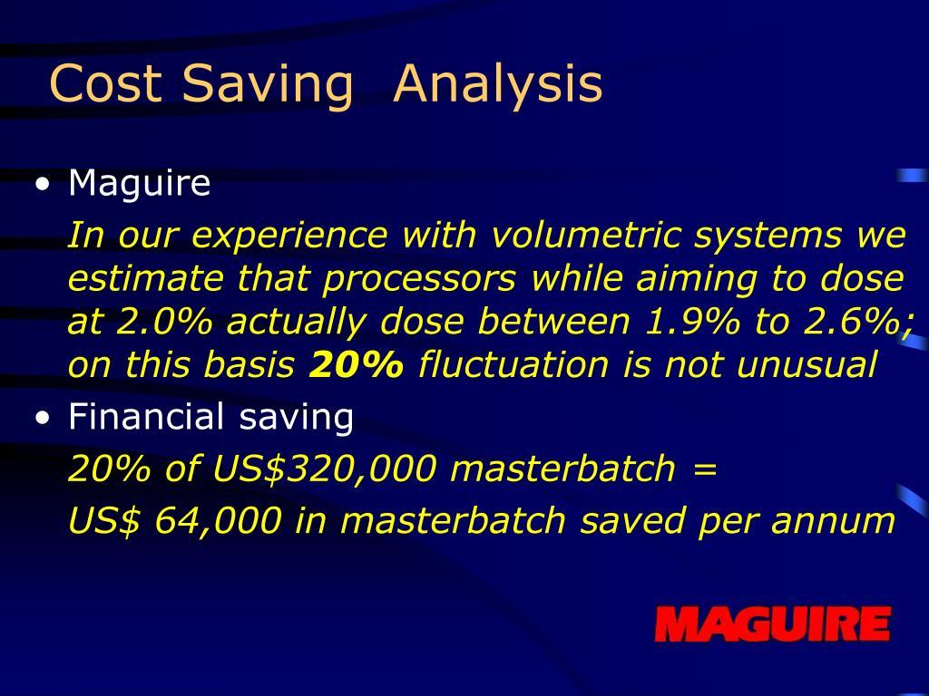 Cost Saving  Analysis