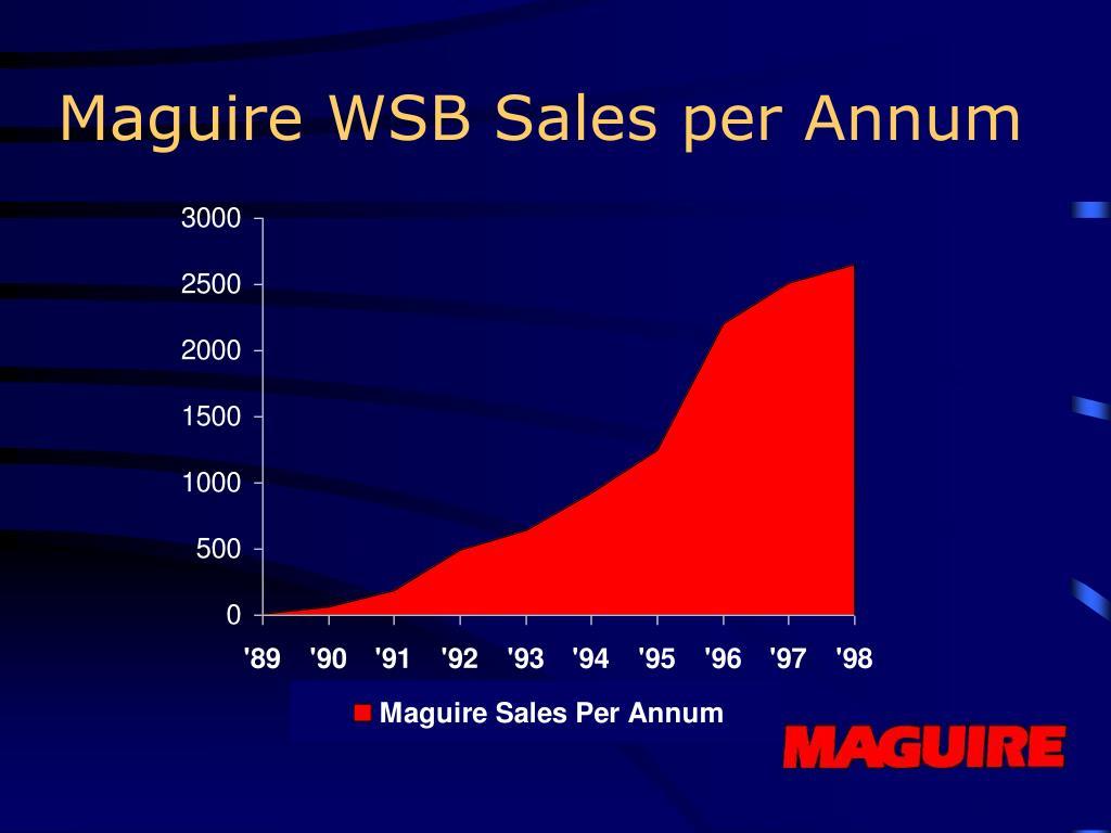 Maguire WSB Sales per Annum