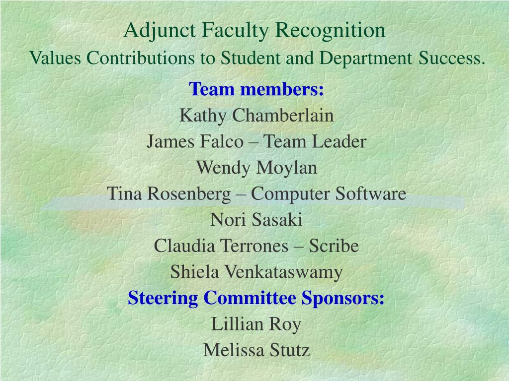 adjunct faculty recognition values contributions to student and department success l.