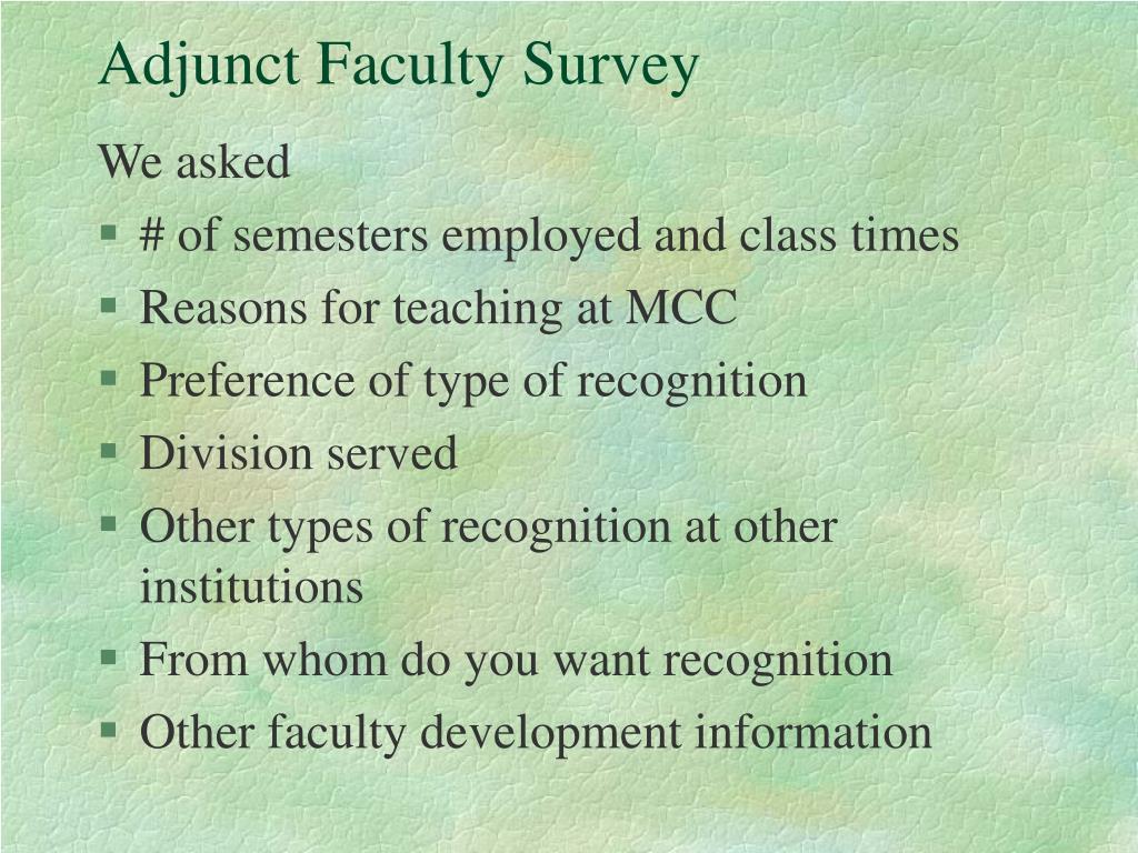 Adjunct Faculty Survey