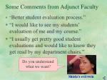 some comments from adjunct faculty