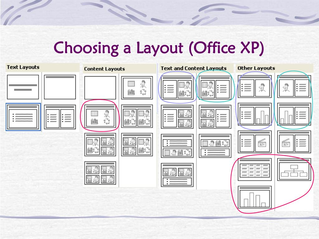 Choosing a Layout (Office XP)