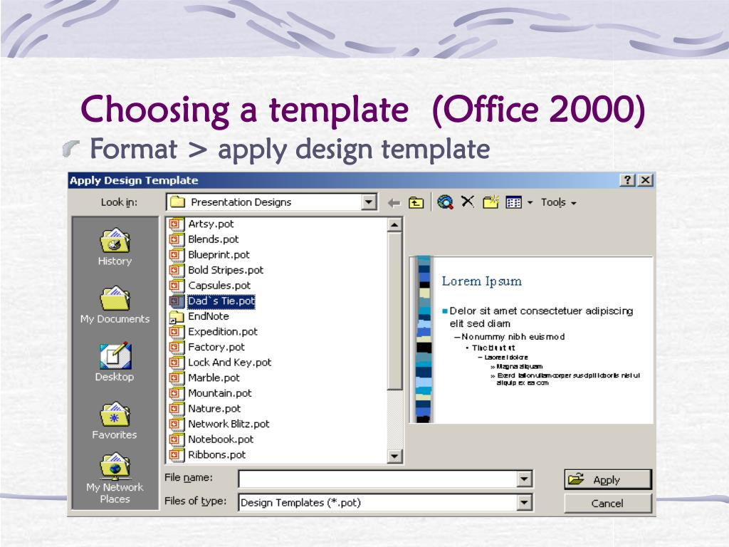 Choosing a template  (Office 2000)