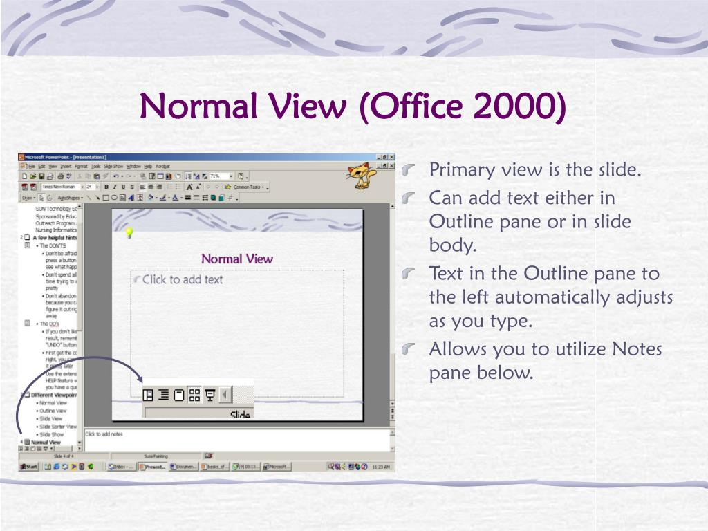 Primary view is the slide.