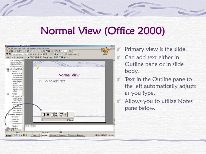 Normal view office 2000