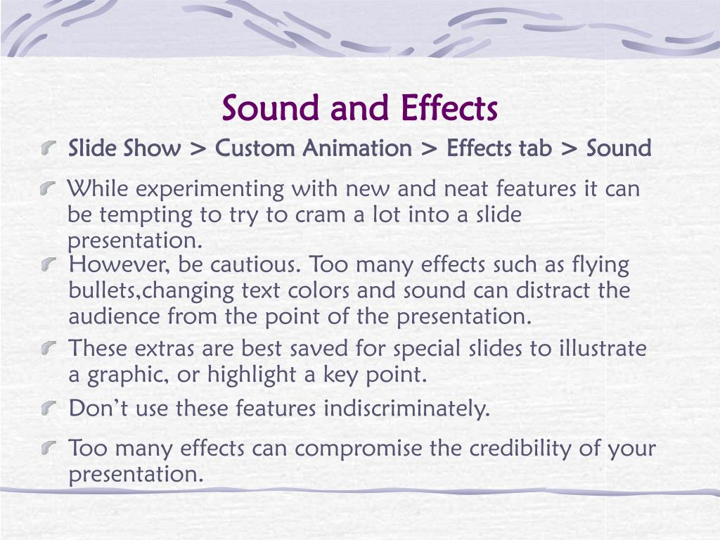 Sound and Effects