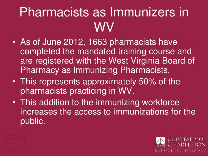 Pharmacists as Immunizers in WV