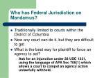 who has federal jurisdiction on mandamus