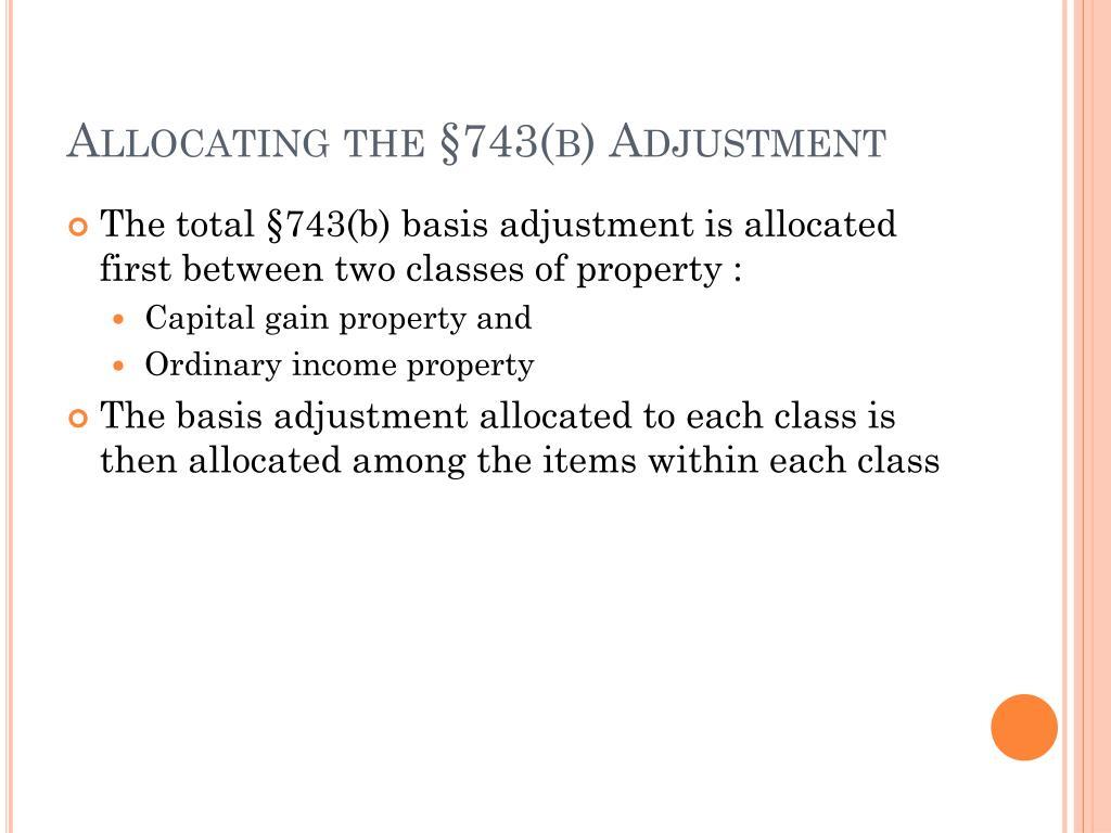 Allocating the §743(b) Adjustment