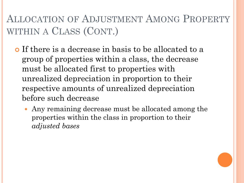 Allocation of Adjustment Among Property within a Class (Cont.)