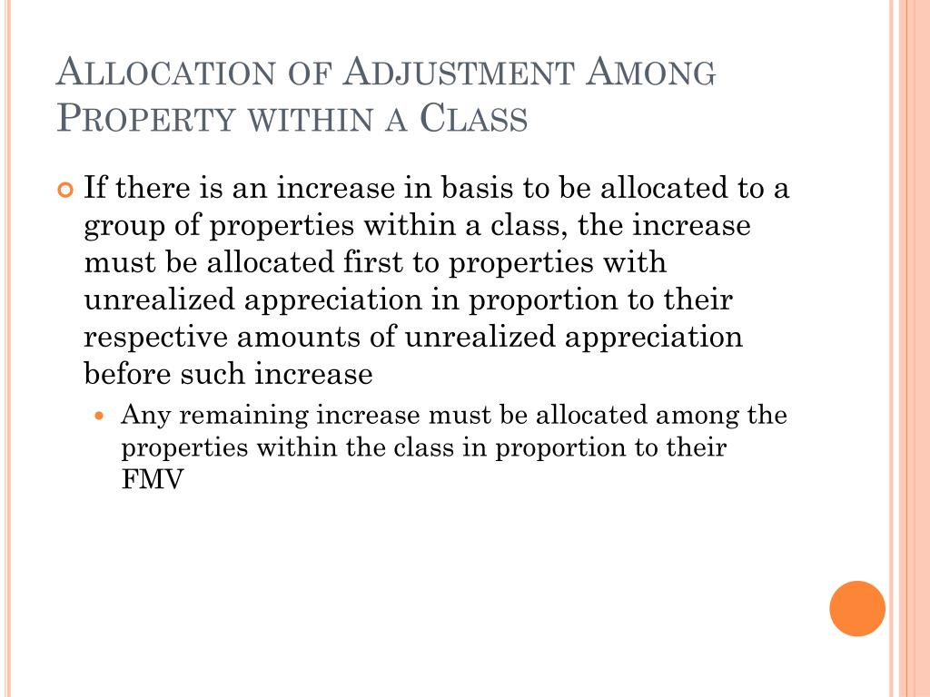 Allocation of Adjustment Among Property within a Class