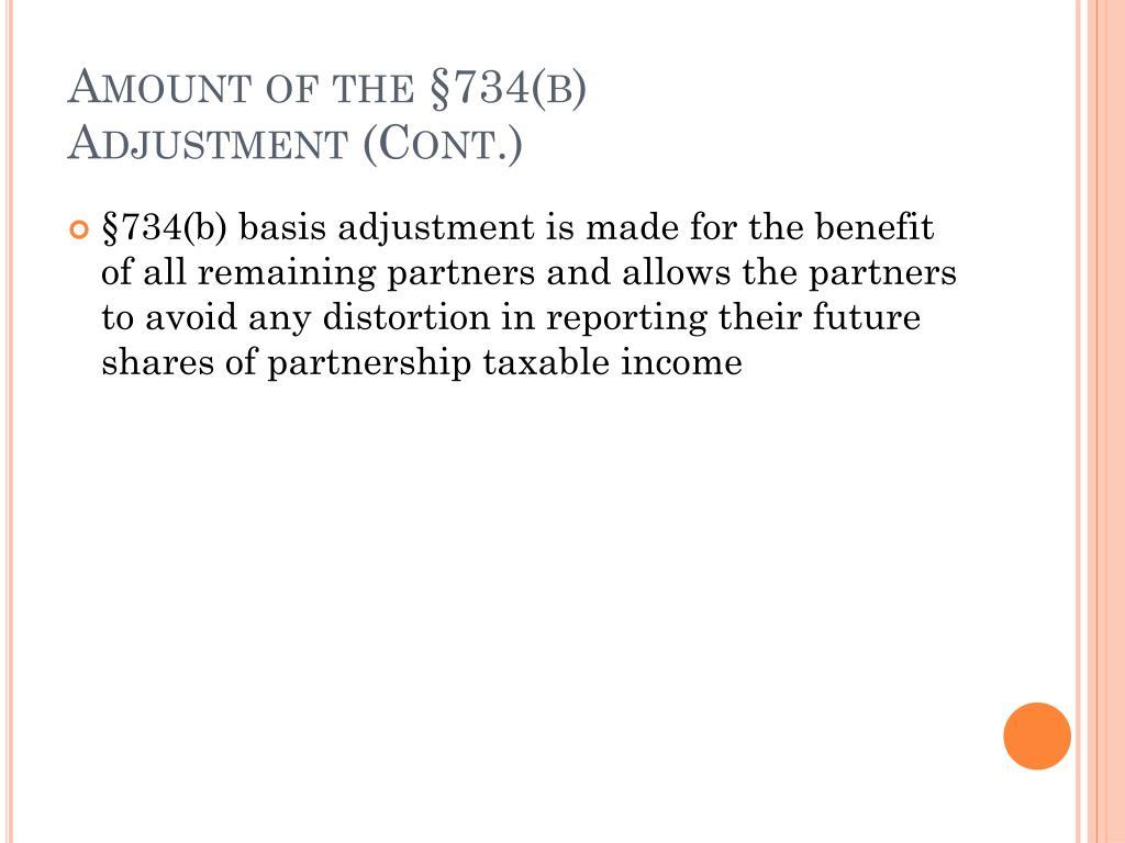 Amount of the §734(b)