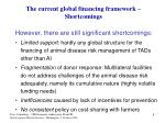 the current global financing framework shortcomings