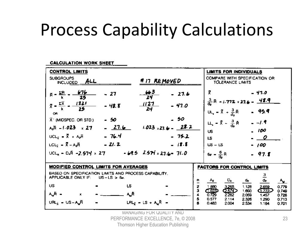Process Capability Calculations