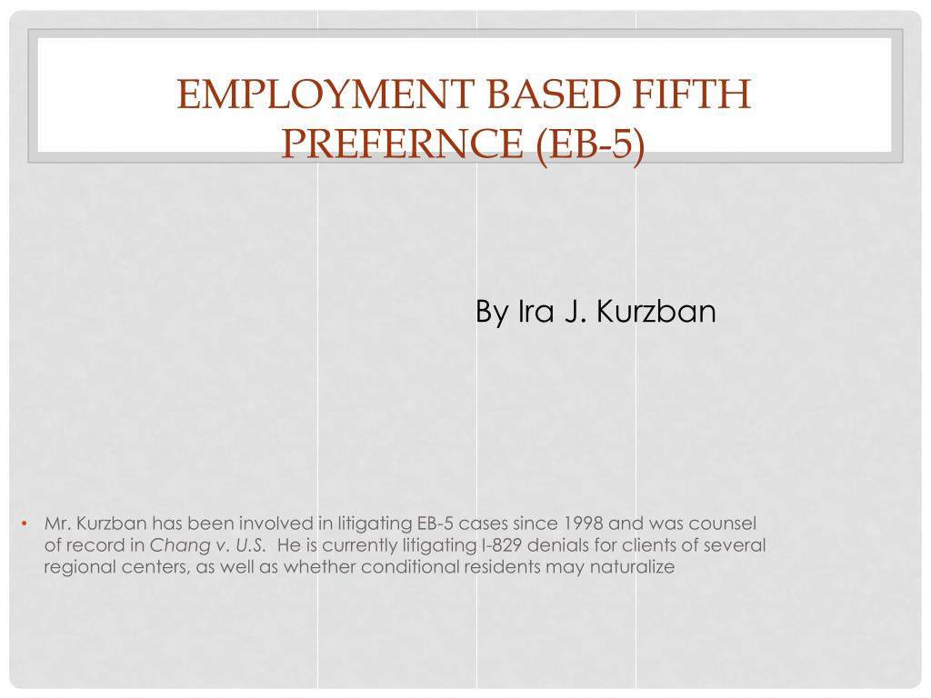 employment based fifth prefernce eb 5 l.
