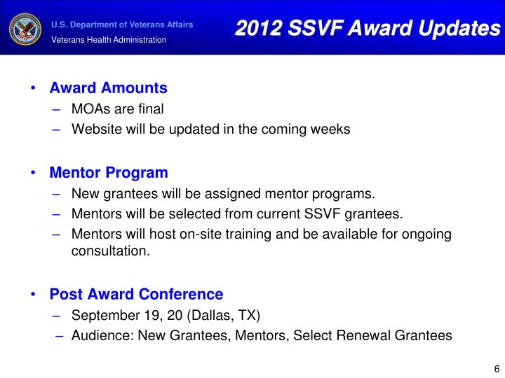 2012 SSVF Award Updates