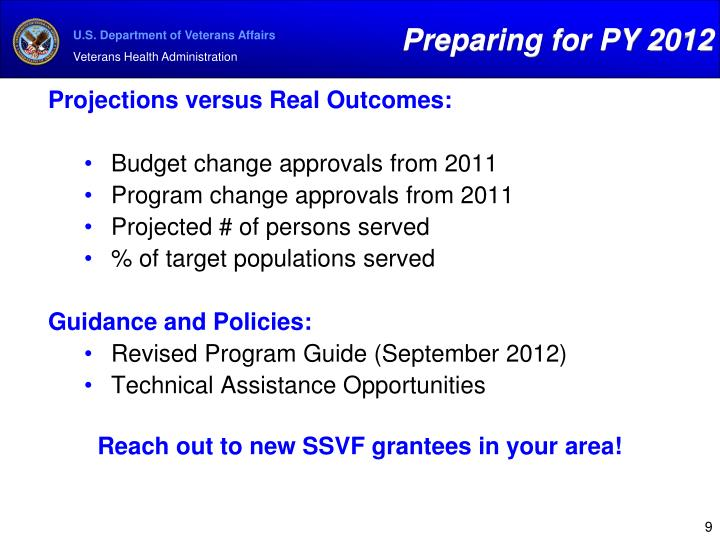 Preparing for PY 2012