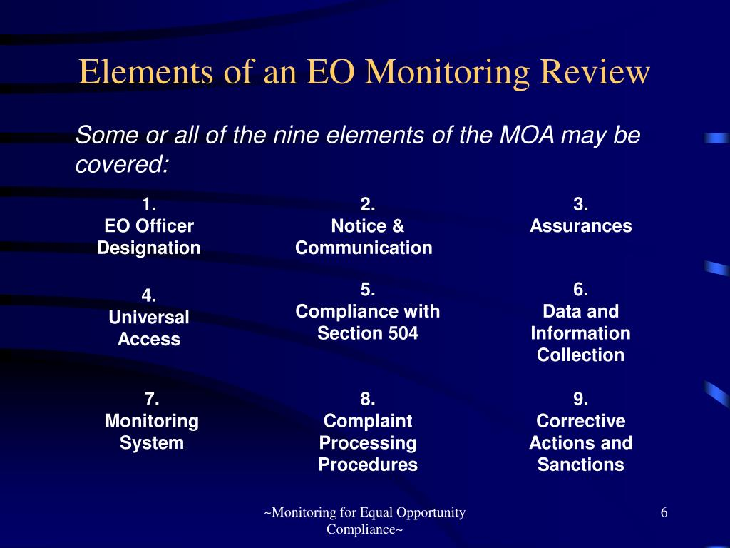 Elements of an EO Monitoring Review
