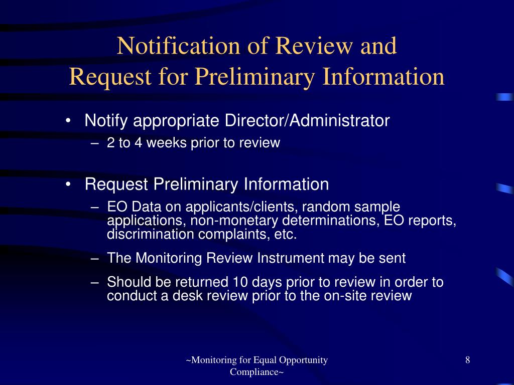 Notification of Review and