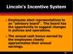 lincoln s incentive system22