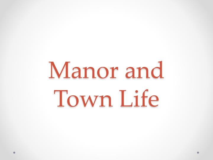 manor and town life n.