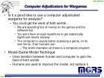 computer adjudicators for wargames