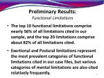preliminary results functional limitations19