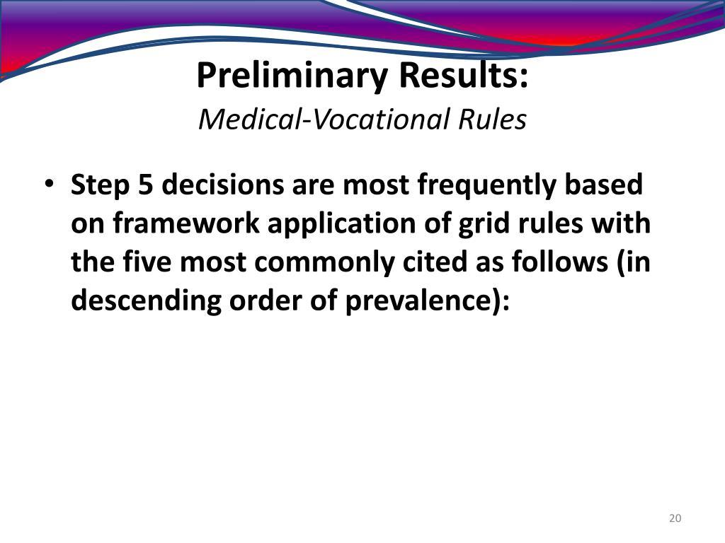 Preliminary Results: