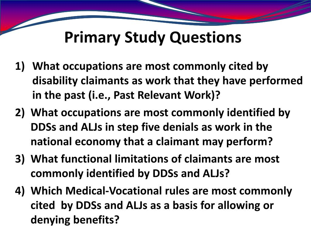 Primary Study Questions