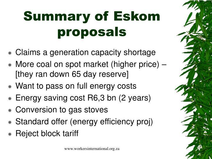 Summary of eskom proposals