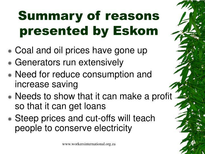 Summary of reasons presented by eskom