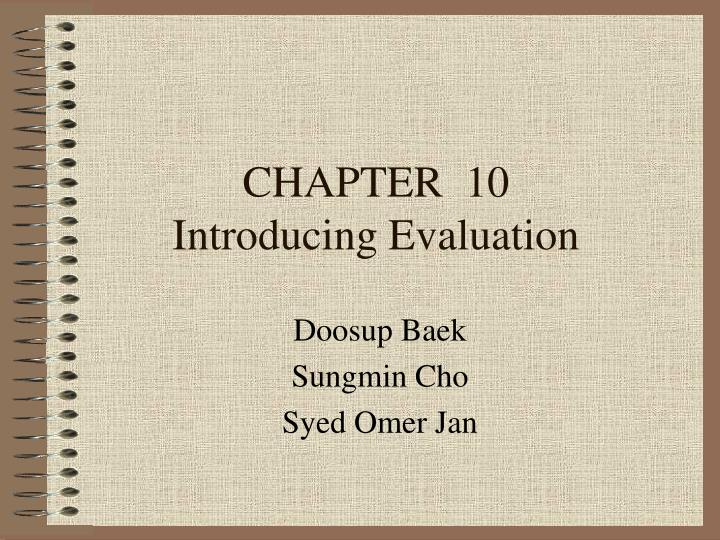 chapter 10 introducing evaluation n.