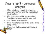 class step 3 language analysis