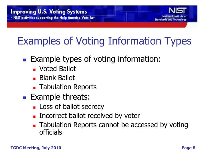 Examples of Voting Information Types