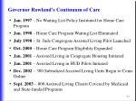 governor rowland s continuum of care