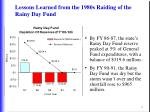 lessons learned from the 1980s raiding of the rainy day fund
