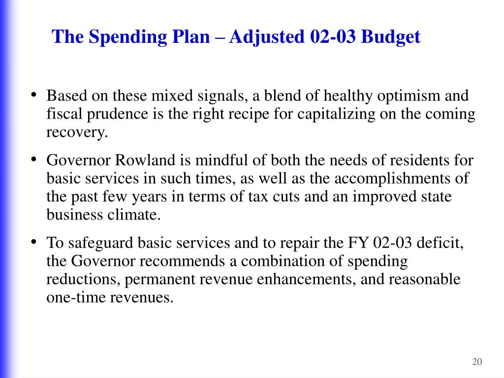 The Spending Plan – Adjusted 02-03 Budget
