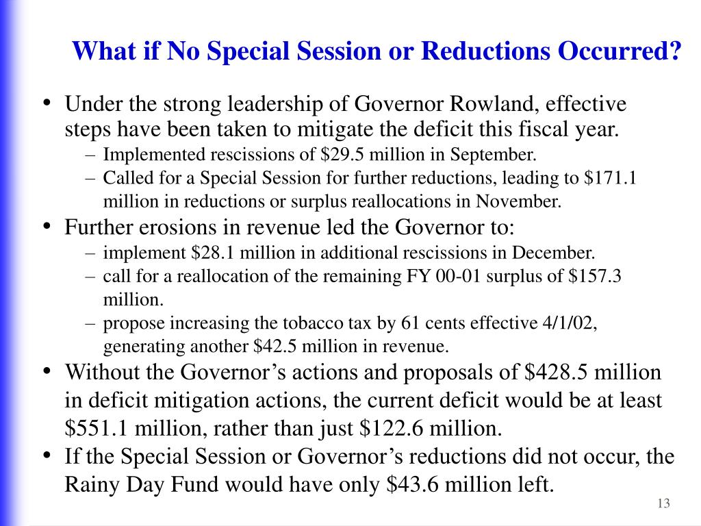 What if No Special Session or Reductions Occurred?